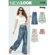 6455 New Look Pattern: Misses' Tie Front Trousers, Shorts and Skirts